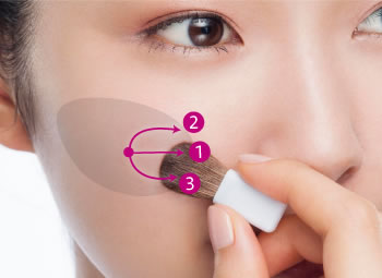 Apply makeup from the cheek point toward the center line of the face