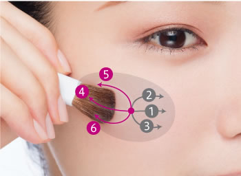 Apply makeup from the cheek point outward