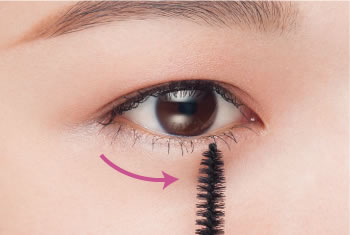 Use the brush perpendicularly to apply to the bottom lashes