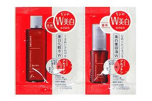 「美白Wシリーズ」のサンプルパウチ(化粧水 / 美容液)